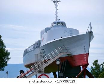 Quebec, Quebec, Canada 07/19/2020: Maritime museum of Quebec boat. Quebec Canada.
