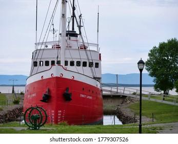 Quebec, Quebec, Canada 07/19/2020: Maritime museum of Quebec boat Ernest Lapointe. Quebec Canada.