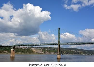 QUEBEC CANADA 08 24 20: Ile d'Orleans Bridge or the Pont de l'Ile, is a suspension bridge that spans the Saint Lawrence River between the Beauport borough of Quebec City and Ile d'Orleans