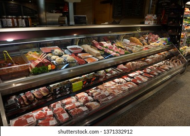 quebec, canada, 10 22 2017 : display of various meat of butcher shop in the grocery store named provisions inc. at avenue cartier in quebec city