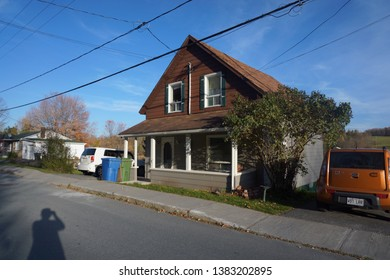 quebec, canada, 10 22 2017 : view of beautiful house at marbleton town of dudswell on the townships trail of eastern townships in quebec