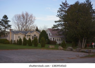 quebec, canada, 10 22 2017 : view of beautiful house at bishopton town of dudswell on the townships trail of eastern townships in quebec