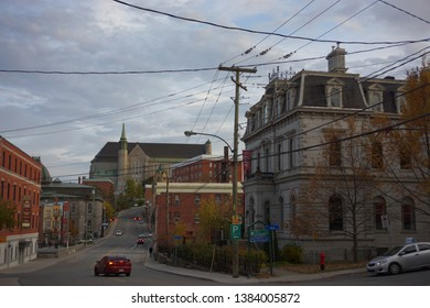 quebec, canada, 10 22 2017 : rue dufferin of sherbrooke town on the townships trail of eastern townships in quebec