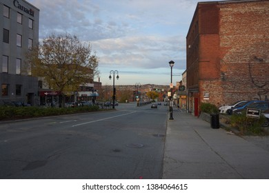 quebec, canada, 10 22 2017 : view of rue king ouest of sherbrooke town on the townships trail of eastern townships in quebec