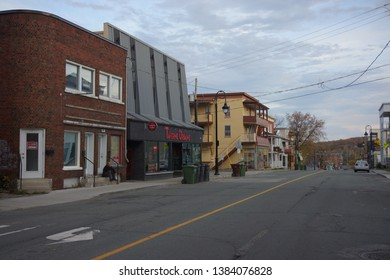 quebec, canada, 10 22 2017 : view of rue alexandre of sherbrooke town on the townships trail of eastern townships in quebec