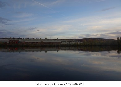 quebec, canada, 10 22 2017 : magog river view from promenade du lac des nations at rue de l'esplanade of sherbrooke town on the townships trail of eastern townships in quebec