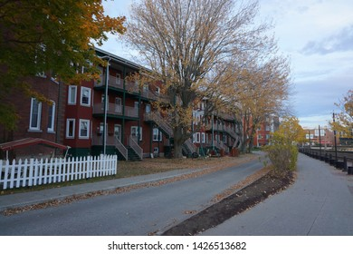 quebec, canada, 10 22 2017 : view of promenade du lac des nations at rue de l'esplanade of sherbrooke town on the townships trail of eastern townships in quebec