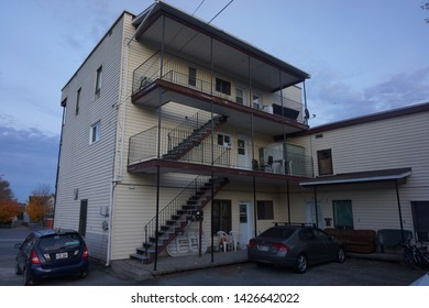 quebec, canada, 10 22 2017 : view of residence houses at rue alexandre of sherbrooke town on the townships trail of eastern townships in quebec
