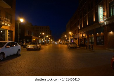 quebec, canada, 10 22 2017 : night view of rue wellington south of sherbrooke town on the townships trail of eastern townships in quebec