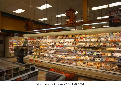 quebec, canada, 10 22 2017 : view of provigo grocery store at rue queen of sherbrooke town on the townships trail of eastern townships in quebec