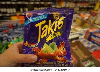 quebec, canada, 10 22 2017 : view of takis snack in provigo grocery store at rue queen of sherbrooke town on the townships trail of eastern townships in quebec