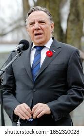 Quebec, Canada - 11/11/2020: Remembrance Day ceremony in Quebec with Francois Legault, Premier of Quebec