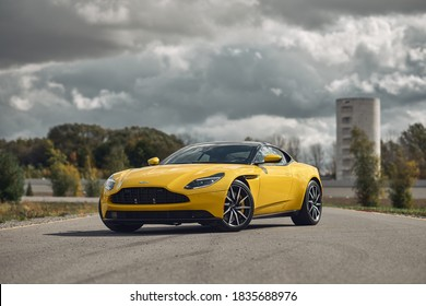 Quebec, Canada - 17 October 2020: Aston Martin DB11 in yellow color