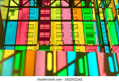 Montréal, Quebec/ Canada - April 29, 2019: Colorful glass windows in the convention center