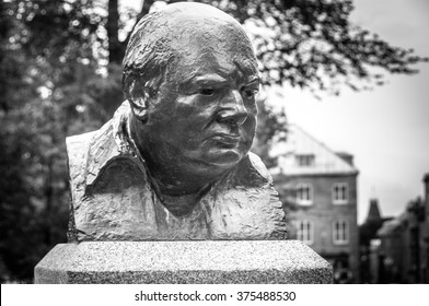 Quebec, Canada - August 21, 2009 : Statue of Churchill in Quebec city, Canada to commemorate  strategic meetings held in 1943 and 1944. by Allied leaders during World War II, in Quebec city, Canada