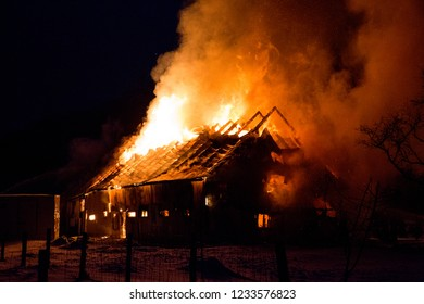 Quebec, Canada -december 2015 - House fire with intense flame.