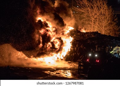 Quebec, Canada - December 2018 - A fire in a used tire facility.