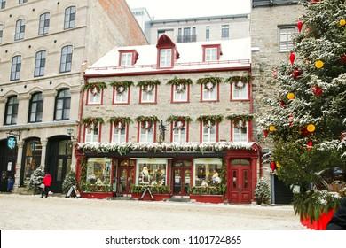 Quebec, Canada - December 21, 2016:  Rue du Petit-Champlain on 21 December, 2016 in Quebec City, Quebec, Canada. Historic District of Quebec City.