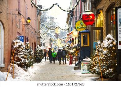 Quebec, Canada - December 21, 2016:  Rue du Petit-Champlain at 21 December, 2016 in Quebec City, Quebec, Canada. Historic District of Quebec City.
