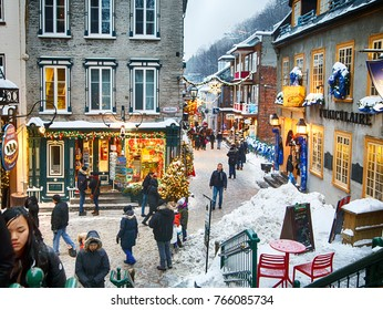 Quebec, Canada - December 21, 2016:  Rue du Petit-Champlain on 21 December, 2016 in Quebec City, Quebec, Canada. Historic District of Quebec City.