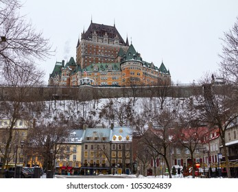 QUEBEC, CANADA - DECEMBER 26, 2016: View of Frontenac Castle (Chateau de Frontenac, in French) in winter under the snow. The Chateau Frontenac is a grand hotel in Quebec City