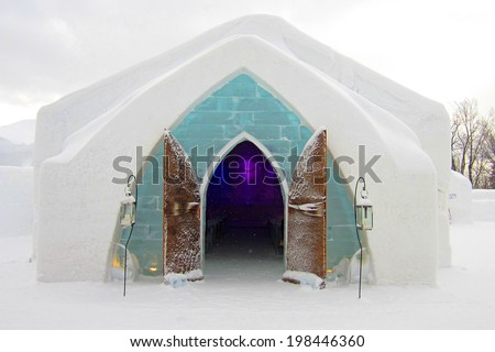 QUEBEC, CANADA - JANUARY 19: Winter at the Hotel de Glace in Quebec, Canada on January 19, 2012. Hotel de Glace is the first and only ice hotel in North America.