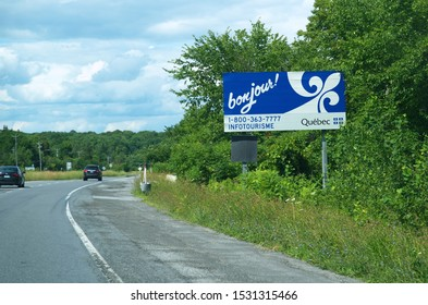Quebec, Canada. Jul 2019.  Quebec welcome highway sign greeting visitors into Canada.