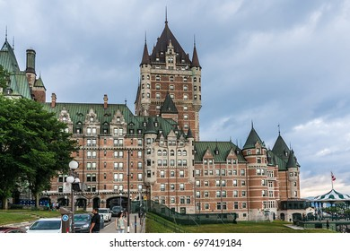 QUEBEC, CANADA - JULY 27, 2014: Chateau Frontenac (1893) - grand hotel in Quebec City. The hotel is recognized as the most photographed hotel in the world.