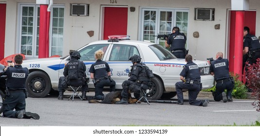 Quebec, Canada - June 2014 - Barricaded man at motel with hostage.