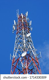 Quebec; Canada- june 25 2018 : antennas on a pylon in Dolbeau Mistassini