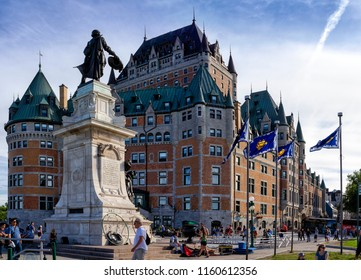 Quebec, Canada - June 27, 2018: The Fairmont Le Chateau Frontenac is a luxury Hotel with a great view from the river and near the Dufferin Terrace in Quebec.