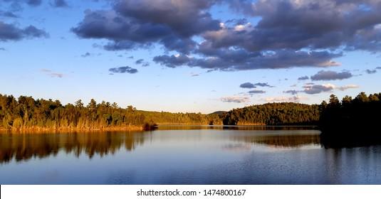 Quebec, Canada, Labrador landscapes, Lake and sky