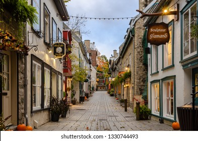 Quebec, Canada - October 16, 2018: View of Rue du Petit-Champlain little street in Lower town of Old Quebec city in Quebec, Canada.