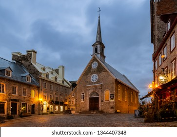 Quebec, Canada - October 16, 2018: Early Morning View of  Notre-Dame-des-Victoires Church in Place Royale of Old Quebec city, Canada.