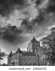 Quebec City. Beautiful view of Hotel de Frontenac with trees and sky.