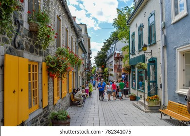 Quebec City, Quebec / Canada - 01 August 2015: Tourist are walking on one of the streets of Old Quebec.
