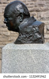 QUEBEC CITY QUEBEC CANADA 07 09 2018: Monument commemorating the visit of British Prime Minister Winston Churchill and American President Franklin D. Roosevelt marks a turning point in history.