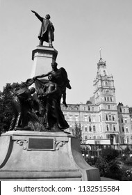 QUEBEC CITY QUEBEC CANADA 07 09 18: Statue of Honore Mercier was a lawyer, journalist and politician. He was the ninth Premier of Quebec as leader of the Parti National  or Quebec Liberal Party (PLQ)