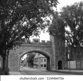 QUEBEC CITY QUEBEC CANADA 07 09 2018: Porte Saint -louis gate Quebec City is a UNESCO World Heritage Site that was selected due to its historical significance as a European settlement in the Americas.