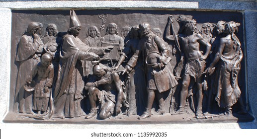 QUEBEC CITY QUEBEC CANADA 07 09 18: Details of statue of Saint Francis-Xavier de Montmorency Laval was the 1st Roman Catholic bishop of Quebec appointed when he was 36 years old by Pope Alexander VII