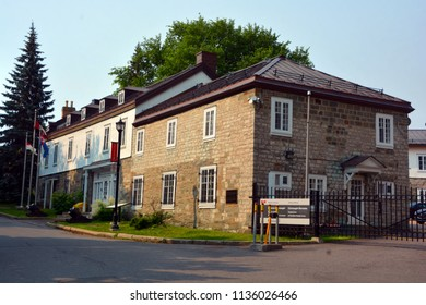 QUEBEC CITY CANADA 07 09 18: Connaught Barracks, stands within the walls of the Saint Louis Bastion in Québec's old defence system, an important part of the military landscape of upper town.