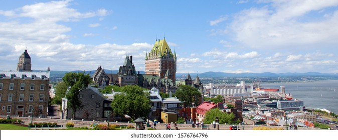 QUEBEC CITY CANADA 07 09 18: Quebec & Chateau Frontenac is a grand hotel. It was designated a National Historic Site of Canada in 1980, generally recognized as the most photographed hotel in the world