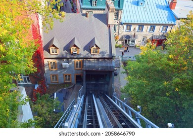 QUEBEC CITY QUEBEC CANADA 10 13 2021: Old Quebec Funicular (French: Funiculaire du Vieux-Quebec) is a funicular railway links the Haute-Ville (Upper Town) to the Basse-Ville (Lower Town)