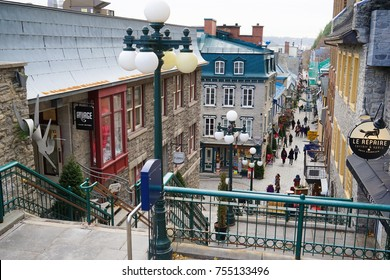 QUEBEC CITY, CANADA - 11 NOVEMBER 2017. The streets of the historic Petit Champlain district