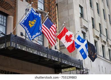 QUEBEC CITY, CANADA - 11 NOVEMBER 2017. Exterior of clarendon hotel quebec city