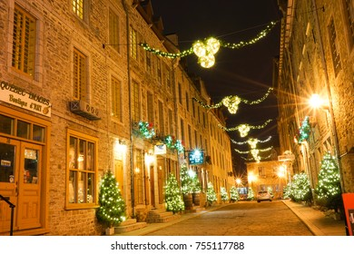 QUEBEC CITY, CANADA - 12 NOVEMBER 2017. Christmas decorations on the streets, Old lower Town, Place Royale, Quebec City,
