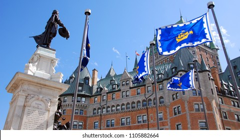 QUEBEC CITY CANADA 15 08 2010: Chateau Frontenac is a grand hotel. It was designated a National Historic Site of Canada in 1980, generally recognized as the most photographed hotel in the world