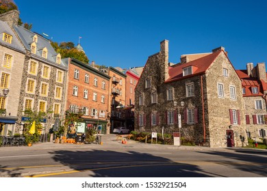 Quebec City, Canada - 4 October 2019: Traditional stone houses on Boulevard Champlain in the Petit Champlain historic district.