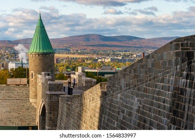 Quebec City, Canada - 4 October 2019: Porte St. Jean (St John gate) is part of the Ramparts of Quebec City.