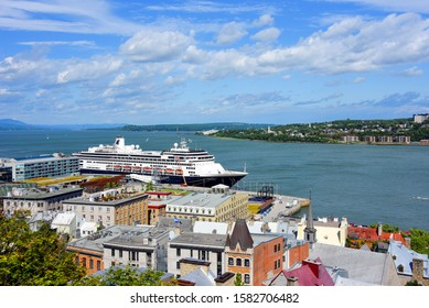 Quebec City, Canada - August 11, 2019:  View of the Lower Town of the Old City with the MS  MS Zaandam docked at the Old Port.  Quebec City is a very popular cruise ship destination.